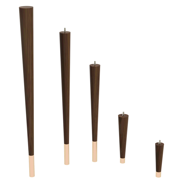 """9"""" Round Tapered Leg with bolt & 1"""" Ferrule"""
