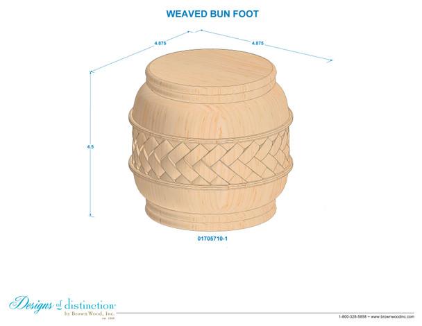 """4-1/2"""" Weaved Carved Bun Foot"""