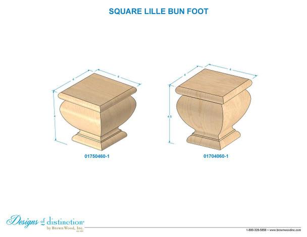 """4"""" Square Lille Bun Foot"""