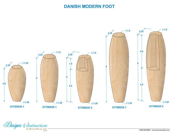 "9"" Danish Modern Bun Feet - Notched"