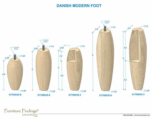 """9"""" Danish Modern Bun Feet with Hanger Bolt"""