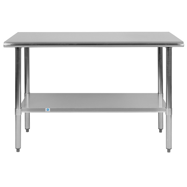 Stainless Steel 18 Gauge Work Table with Undershelf - NSF Certified