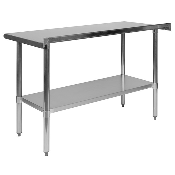 "Stainless Steel 18 Gauge Work Table with 1-1/2"" Backsplash and Undershelf - NSF Certified"