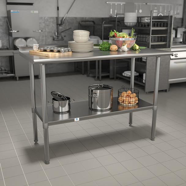 """Stainless Steel 18 Gauge Work Table with 1-1/2"""" Backsplash and Undershelf - NSF Certified"""