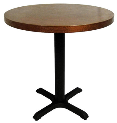 COPPER TOP RESTAURANT TABLE 80X80CM COPPER BAR TABLE SMALL METAL TABLE PINE BASE