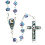 Aqua Blue Florentine Mosaic Rosary