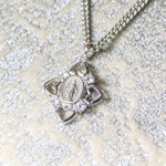 Miraculous Medal with Four Hearts and Crystal Stone