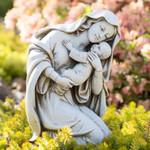 """Kneeling Madonna & Child Garden Statue - 13.5"""""""