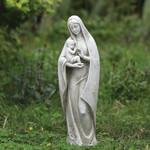 """White Madonna & Child Garden Statue - 14"""""""