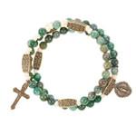 Jade Green & Brass Rosary Wrap Bracelet
