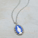 Sterling Silver Genuine Cameo Our Lady of Grace Necklace