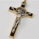 St. Benedict Gold Plated Brown Rosary