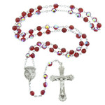 Ruby Red Sterling Silver Rosary