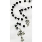 Sterling Silver Jet Black Swarovski Rosary, 8mm