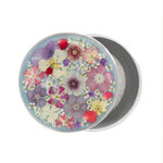 Pewter Rosary Box with Pressed Flowers