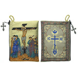 Crucifixion Icon Tapestry Rosary Pouch