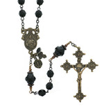 Black Glass & Bronze Sacred Heart Rosary