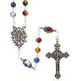 Sterling Silver Genuine Murano Italian Glass Rosary