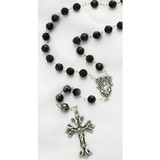 Sterling Silver Jet Black Swarovski Rosary, 8mm