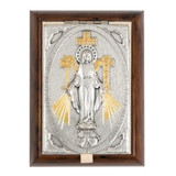 Miraculous Medal Wood-Metal Rosary Keepsake Box