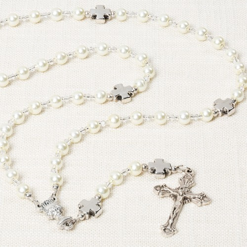 First Communion Glass Pearl Rosary