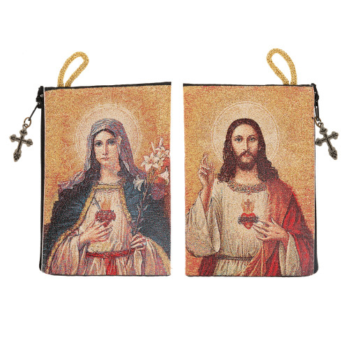 Two Hearts Rosary Tapestry Pouch