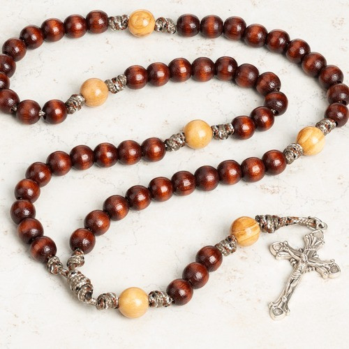 Two Tone Wood Paracord Rosary