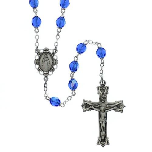 Bohemian Glass Birthstone Rosary - Sapphire / September
