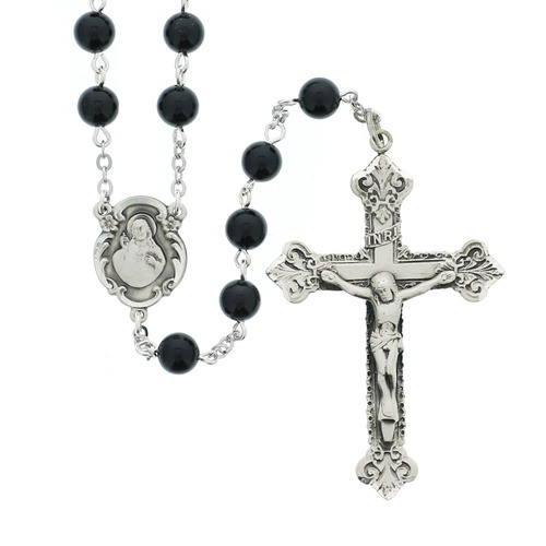 Sterling Silver & Onyx Sacred Heart Rosary