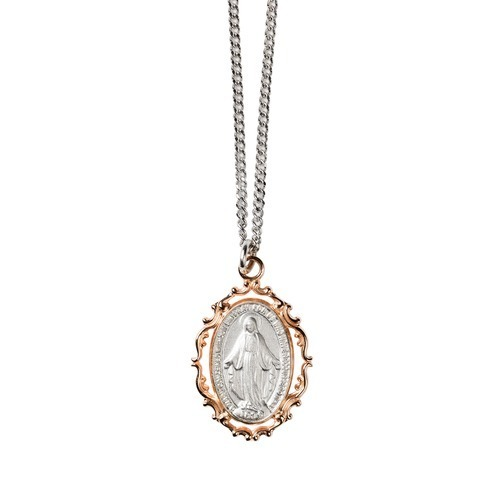 Rose Gold & Sterling Miraculous Medal Necklace