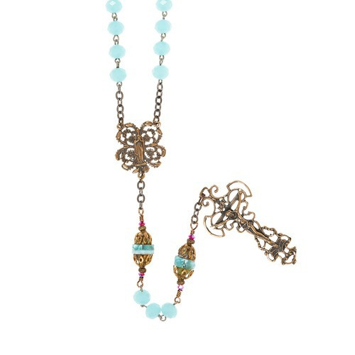 Handcrafted Blue Glass & Bronze Italian Rosary (with Gift Box)