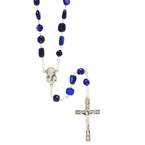 Madonna of the Streets Dark Blue Rosary with Box