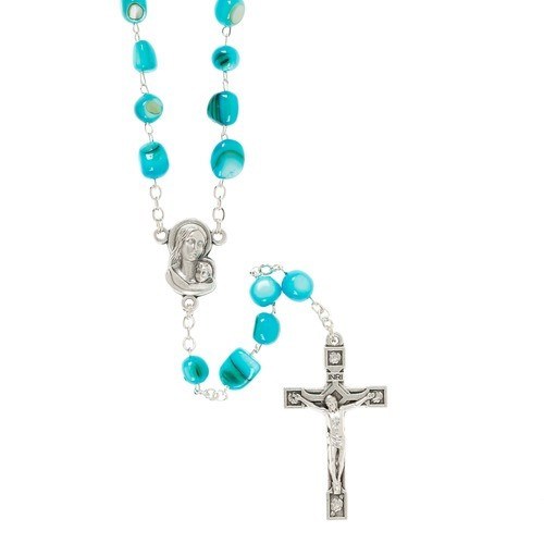 Turquoise Madonna of the Streets Rosary with Box