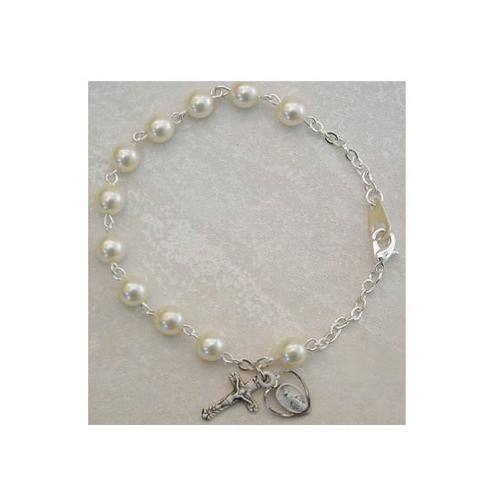 Pearl Adult Rosary Bracelet