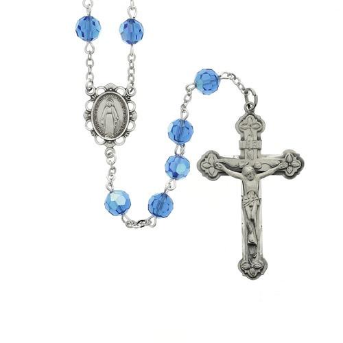 Blessed Mary Blue Swarovski Crystal Rosary