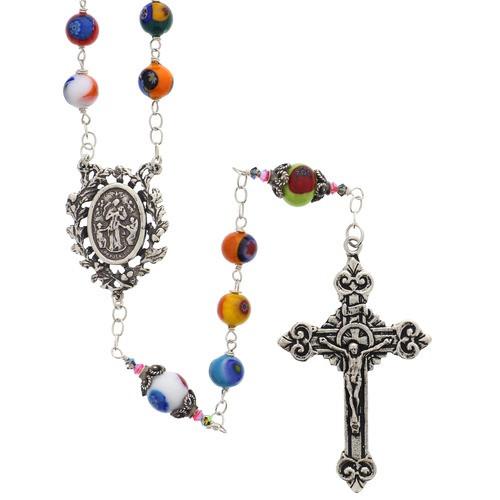 Sterling Silver Genuine Murano Italian Glass Rosary