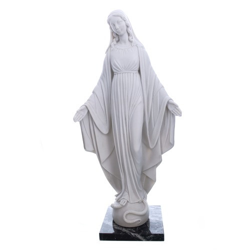 """White Miraculous Mary Marble Statue 13"""""""