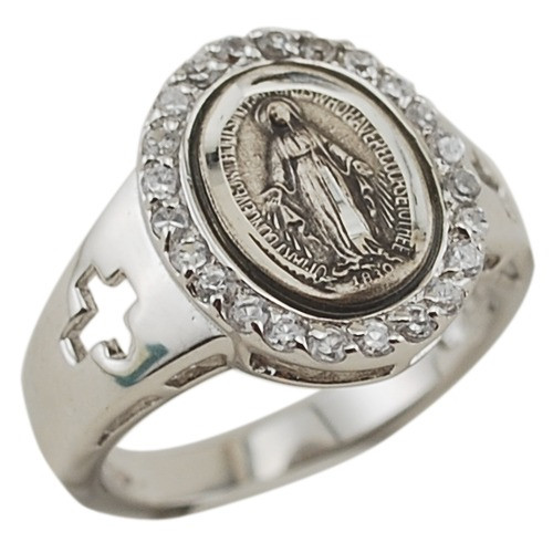 Sterling Silver Miraculous Medal Ring, w/ Crosses