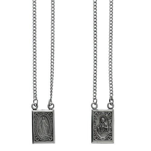 Sterling Scapular with Miraculous Medal