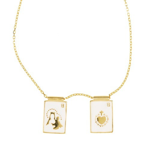White Enamel Scapular Necklace