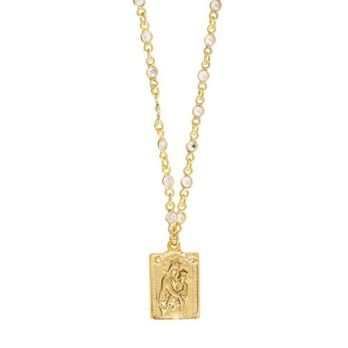 Scapular Medal with Crystal Link Chain