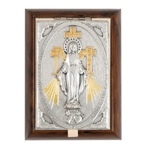 Miraculous Medal Wood-Metal Rosary Keepsake Box