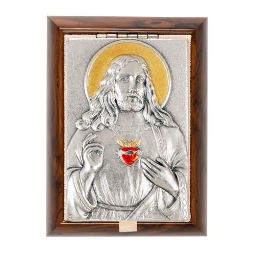Sacred Heart Plaque Rosary Keepsake Box