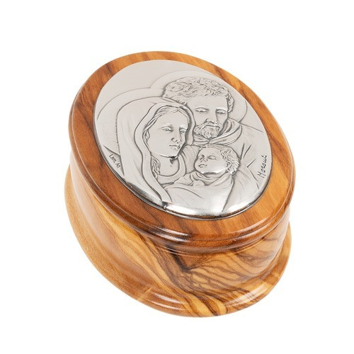 Olive Wood Holy Family Rosary Keepsake Box