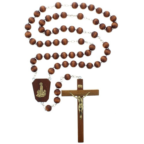 Round Wood Bead Our Lady of Fatima Wall Rosary