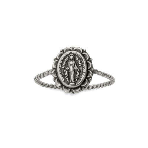 Miraculous Medal Braided Silver Ring