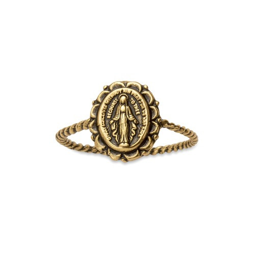 Miraculous Medal Braided Gold Ring