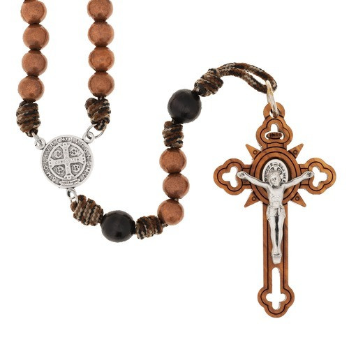 St. Benedict Brown Paracord Rosary