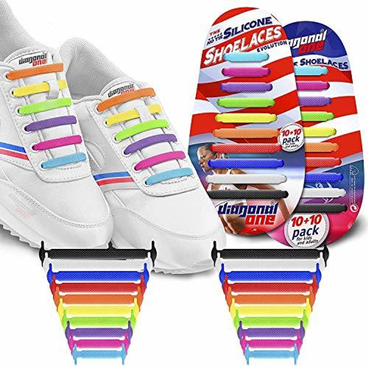 sale uk 100% quality popular brand DIAGONAL ONE No Tie Shoelaces for Kids & Adults (Multicolour)