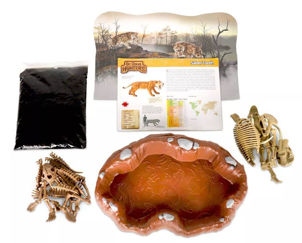 Dr Steve HUNTERS Tar Pits Explorer Slime Excavation Kit - Sabertooth Tiger  vs  Mammoth